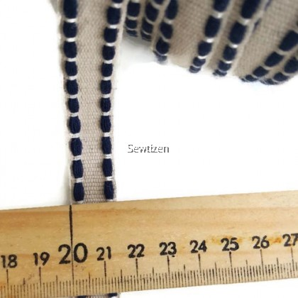 LINEN RIBBON 15mm, LINE STITCH BLUE COLOR