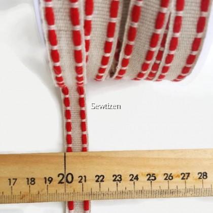 LINEN RIBBON 15mm, LINE STITCH RED COLOR