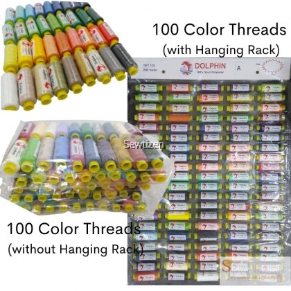 100 colors 250 meter Polyester Thread Dolphin Set (Benang Dolphin)