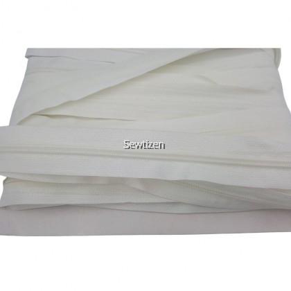 Long Zipper (Zip panjang) #5 White color by meter With Zipper Head