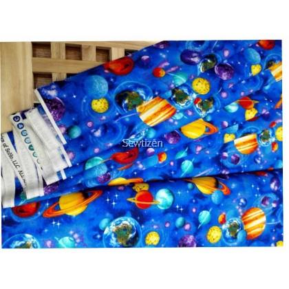 100% USA Cotton Planet Blue, Timeless Treasure Fabric