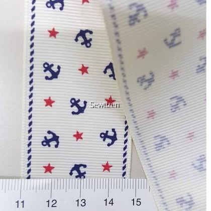 High quality Grossgrain Ribbon Anchor Print