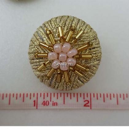 HANDMADE GOLD BEADS BUTTON