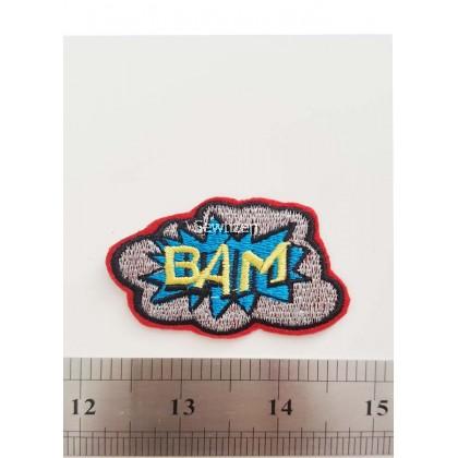 BAM in Cloud Border Embroidery Patch-Handmade Badge/DIY Aksesori Jahitan