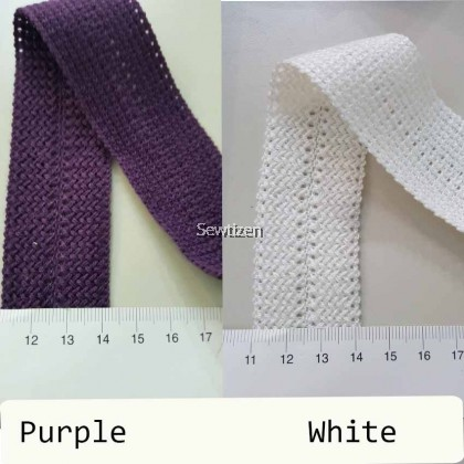 Fold Over Knit Trimming Acryl Yarn Braid Lace (10 choices of color) - Apparel embellishment