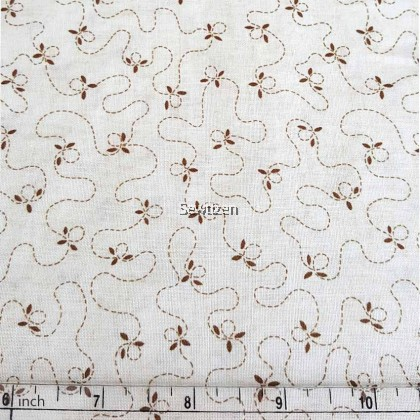 Kain 100% Cotton Designer Cotton Imported Cream Petal Stitch, Henry Glass & Co Fabric